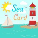 Carta del mare con il faro e la barca a vela Stile piano Vettore Fotografie Stock