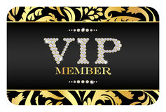 Carta del membro di VIP con il modello floreale dorato Fotografia Stock