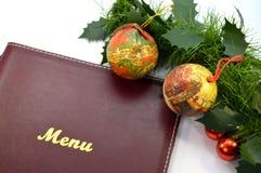 Carta del menu con due palle di natale Fotografie Stock Libere da Diritti