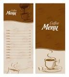 Carta del menu del caffè per i tipi differenti di caffè Fotografia Stock
