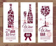 Carta del menu della barra di vino Fotografia Stock