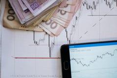 Carta del mercado de acción en cartas de las divisas y la pantalla en línea viva del dinero Foto de archivo