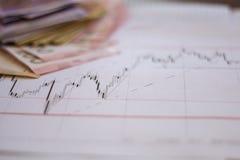 Carta del mercado de acción en cartas de las divisas y la pantalla en línea viva del dinero Fotos de archivo libres de regalías