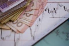 Carta del mercado de acción en cartas de las divisas y la pantalla en línea viva del dinero Fotografía de archivo