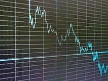 Carta del mercado de acción, gráfico en fondo negro Foto de archivo