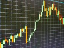 Carta del mercado de acción, gráfico en fondo negro Fotografía de archivo libre de regalías