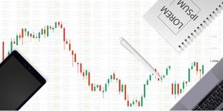 Carta del mercado de acción Gráfico de negocio en fondo de la tecnología Concepto comercial del negocio de las divisas La carta d ilustración del vector