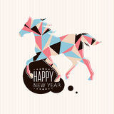 Carta del nuovo anno con il cavallo Immagini Stock Libere da Diritti
