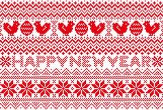 Carta del nuovo anno con il modello nordico  chicken ed egg Immagine Stock Libera da Diritti