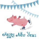 Carta del nuovo anno con il simbolo del maiale e delle bandiere di anno assorbiti Fotografie Stock Libere da Diritti