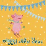 Carta del nuovo anno con il simbolo del maiale e delle bandiere di anno assorbiti Fotografia Stock Libera da Diritti