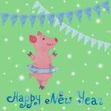 Carta del nuovo anno con il simbolo del maiale e delle bandiere di anno assorbiti Immagine Stock Libera da Diritti