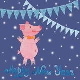 Carta del nuovo anno con il simbolo del maiale e delle bandiere di anno assorbiti Immagini Stock Libere da Diritti