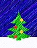 Carta del nuovo anno con l'abete decorato Fotografia Stock Libera da Diritti