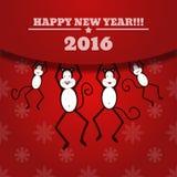 Carta del nuovo anno con la famiglia della scimmia per l'anno ENV 2016 10 Immagini Stock Libere da Diritti