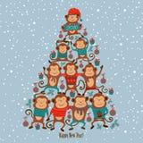 Carta del nuovo anno con le scimmie ed il buon anno acrobatici del testo, Immagine Stock Libera da Diritti