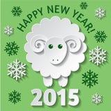 Carta del nuovo anno con una pecora Immagini Stock Libere da Diritti