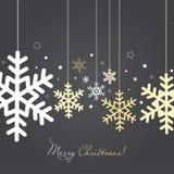 Carta del nuovo anno e di Natale con i fiocchi di neve Immagini Stock