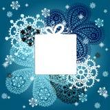 Carta del nuovo anno e di Natale con i fiocchi di neve Illustrazione di Stock