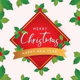Carta del nuovo anno e di Natale con le foglie Fotografia Stock