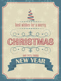 Carta del nuovo anno e di Natale nel retro stile con l'albero di Natale ed i fiocchi di neve Immagini Stock