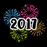 Carta del nuovo anno 2017greeting, invito con i numeri scritti a mano e scarabocchio disegnato a mano illustrazione vettoriale