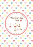 Carta del partito di giorno del ` s del biglietto di S. Valentino Priorità bassa del cuore Fotografia Stock