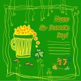 Carta del partito di giorno di St Patrick dell'Irlandese con i simboli piani della festa e del posto per testo Illustrazione di v Fotografia Stock