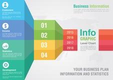 Carta del paso del nivel de la barra del negocio infographic El informe de negocios crea Imagen de archivo