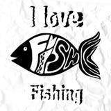 Carta del pesce della lavagna - segnare pesce con lettere disegnato a mano Illustrazione di vettore Immagini Stock