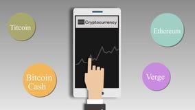 Carta del precio de Cryptocurrencies en la pantalla móvil 2.a animación metrajes