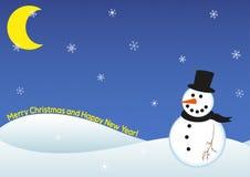 Carta del pupazzo di neve del buon anno Immagine Stock