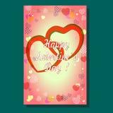 Carta del ` s del biglietto di S. Valentino con i cuori royalty illustrazione gratis