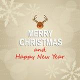 Carta del ` s del nuovo anno e di Natale Fotografia Stock