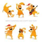 Carta del ` s del nuovo anno con i cani divertenti che ballano e che giocano chitarra Immagine Stock Libera da Diritti