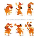 Carta del ` s del nuovo anno con i cani divertenti che ballano e che giocano sassofono Fotografie Stock