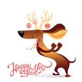 Carta del ` s del nuovo anno con il cane divertente di dancing Fotografie Stock Libere da Diritti