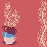 Carta del tè con le tazze ed i fiori Fotografia Stock Libera da Diritti