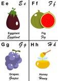 Carta del vector del alfabeto de E a H Imágenes de archivo libres de regalías