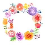 Carta dell'acquerello con i fiori e gli uccelli Fotografia Stock