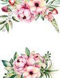Carta dell'acquerello con il posto per testo con il fiore, peonie, foglie, rami, lupino, pianta di aria, fragola Fotografie Stock Libere da Diritti