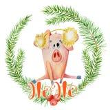 Carta dell'acquerello di Buon Natale con il maiale divertente sveglio nella corona del ramo del pino e nella citazione Ho Ho di i fotografia stock libera da diritti