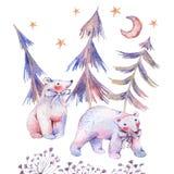 Carta dell'acquerello di inverno con gli orsi polari illustrazione di stock