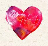 Carta dell'annata dell'acquerello del cuore di Buon Natale Immagini Stock Libere da Diritti