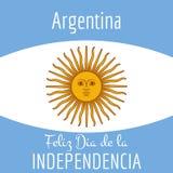 Carta dell'Argentina - illustrazione del manifesto con i colori della bandiera Immagini Stock