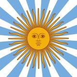 Carta dell'Argentina - illustrazione del manifesto con i colori della bandiera e del sole Immagini Stock