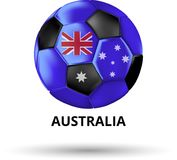 Carta dell'Australia con pallone da calcio a colori della bandiera nazionale royalty illustrazione gratis