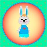 Carta dell'emblema con il coniglietto sveglio del fumetto Fotografia Stock Libera da Diritti