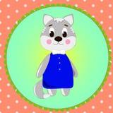 Carta dell'emblema con il gatto sveglio del fumetto Fotografia Stock Libera da Diritti