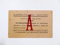 Carta dell'esercito di Francoist del centro Guerra civile spagnola immagine stock libera da diritti